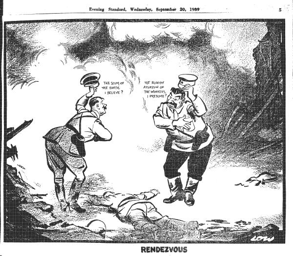 Гитлер: «Отброс человечества, если не ошибаюсь?» Сталин: «Кровавый убийца рабочих, я полагаю?» Карикатура «Рандеву», художник Дэвид Ло, «Evening Standard», 20 сентября 1939 г.